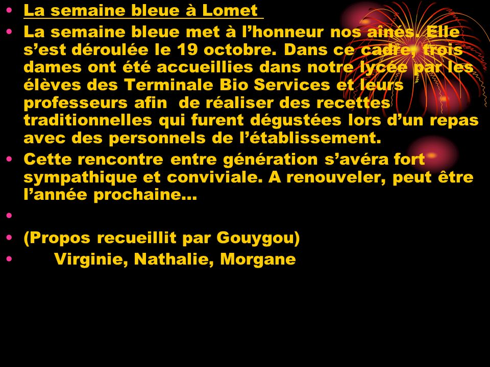 La semaine bleue à Lomet