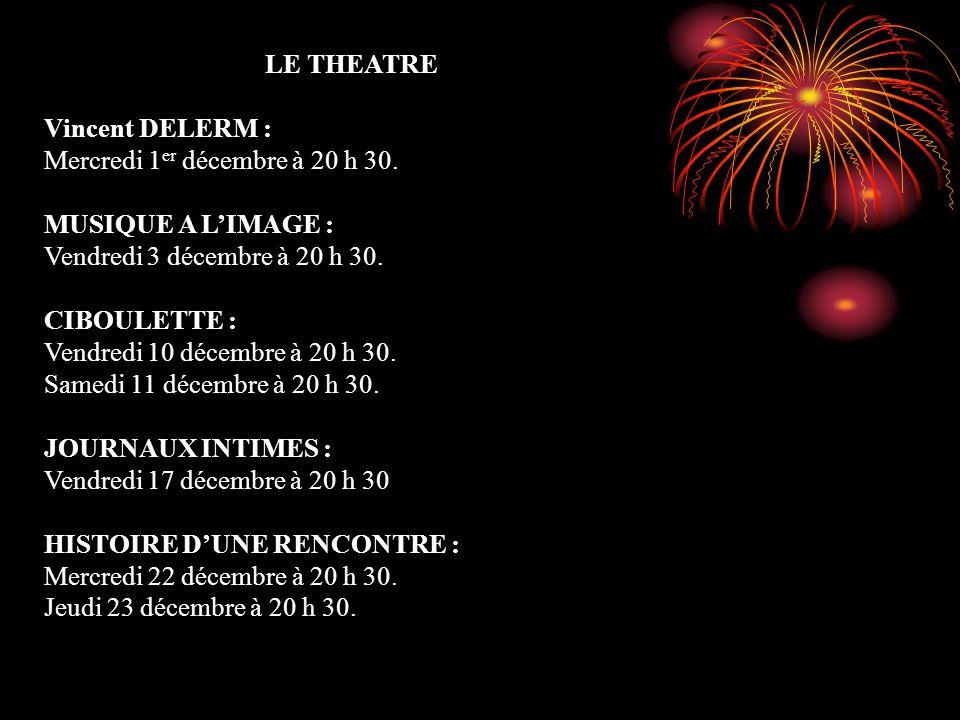 LE THEATRE Vincent DELERM : Mercredi 1er décembre à 20 h 30. MUSIQUE A L'IMAGE : Vendredi 3 décembre à 20 h 30.