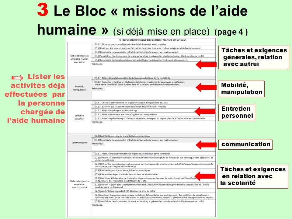 3 Le Bloc « missions de l'aide humaine » (si déjà mise en place) (page 4 )