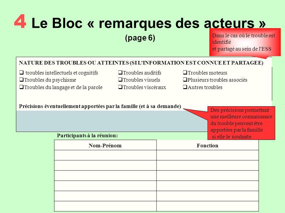 4 Le Bloc « remarques des acteurs » (page 6)
