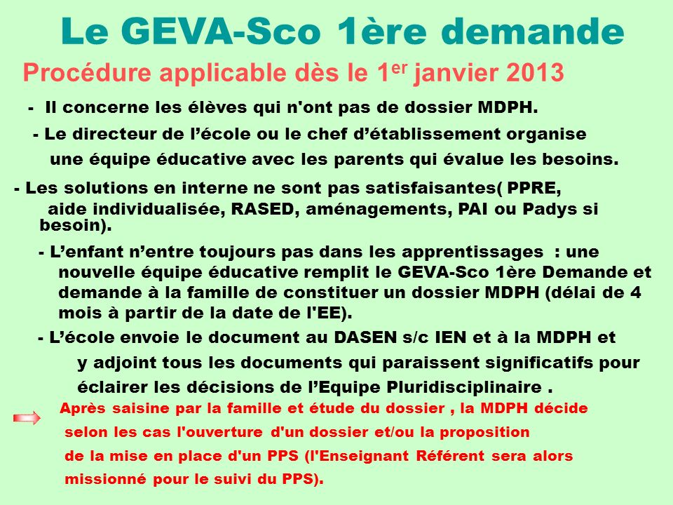 Le GEVA-Sco 1ère demande
