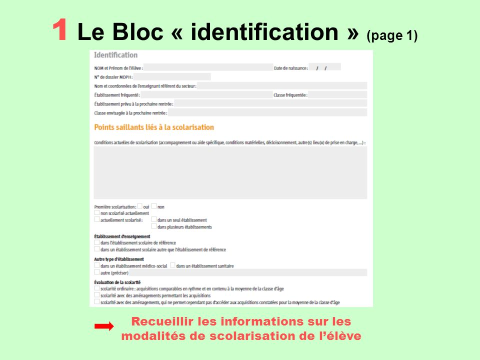 1 Le Bloc « identification » (page 1)