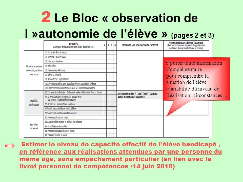 2 Le Bloc « observation de l »autonomie de l'élève » (pages 2 et 3)