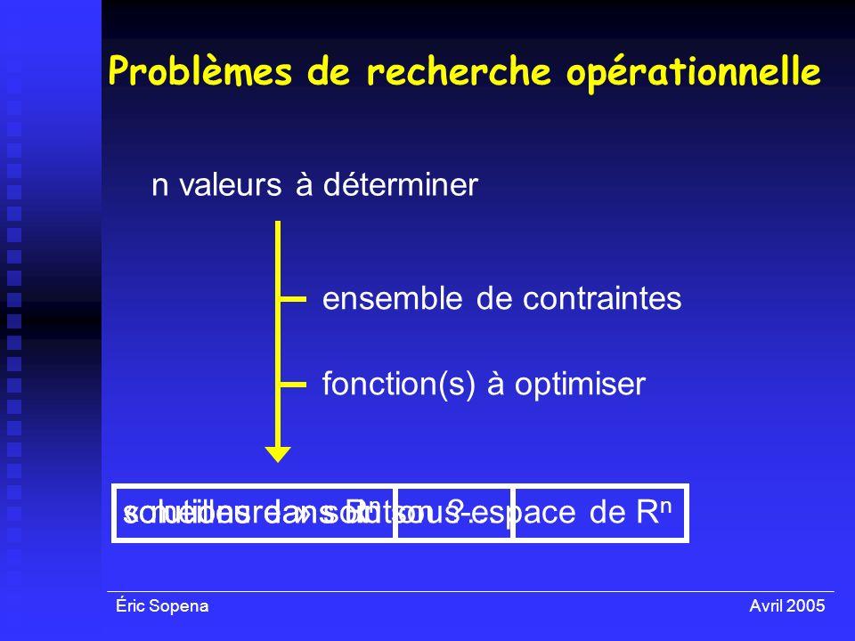 Problèmes de recherche opérationnelle