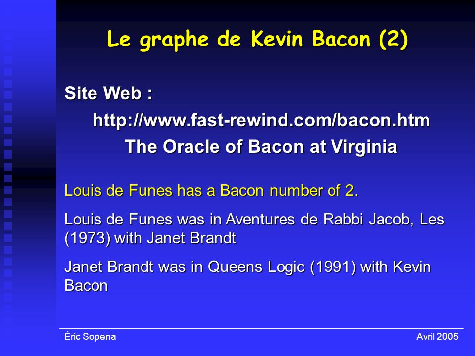 Le graphe de Kevin Bacon (2) The Oracle of Bacon at Virginia