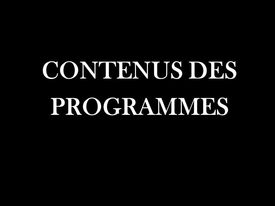 CONTENUS DES PROGRAMMES
