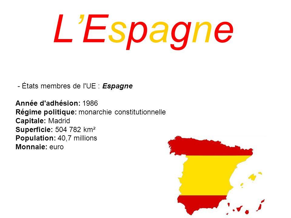 L'Espagne - États membres de l UE : Espagne Année d adhésion: 1986