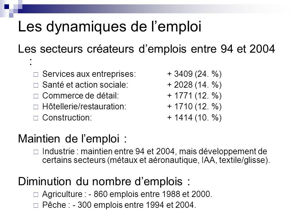 Les dynamiques de l'emploi