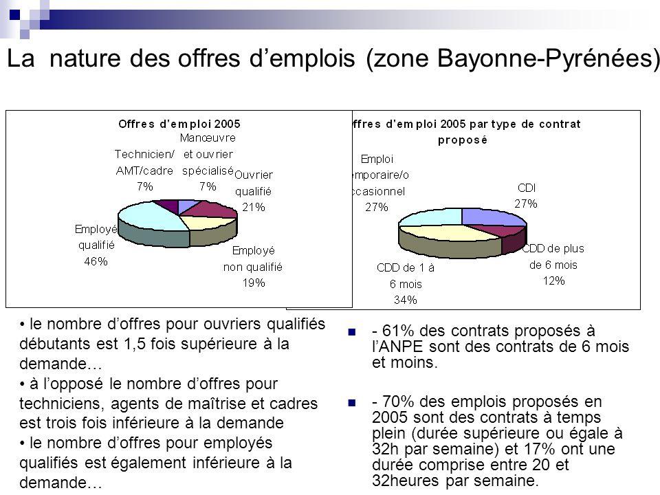 La nature des offres d'emplois (zone Bayonne-Pyrénées)