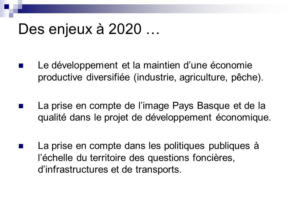 Des enjeux à 2020 … Le développement et la maintien d'une économie productive diversifiée (industrie, agriculture, pêche).