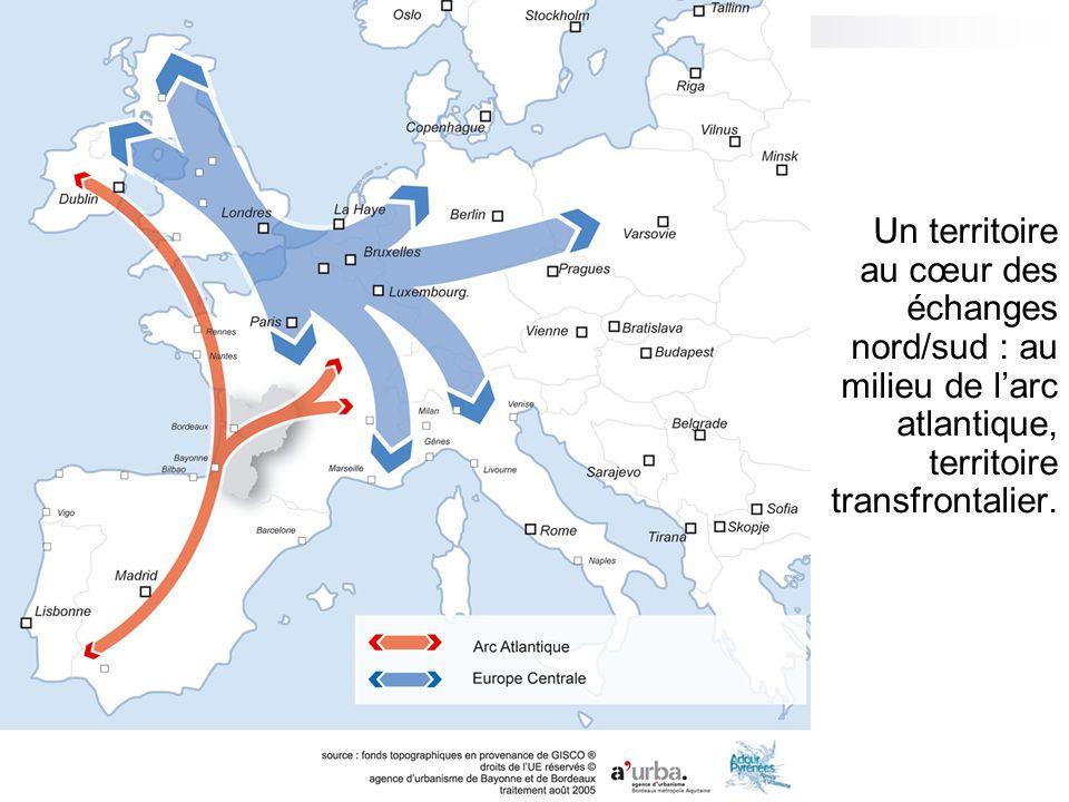 Un territoire au cœur des échanges nord/sud : au milieu de l'arc atlantique, territoire transfrontalier.
