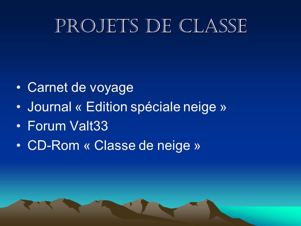 Projets de classe Carnet de voyage Journal « Edition spéciale neige »