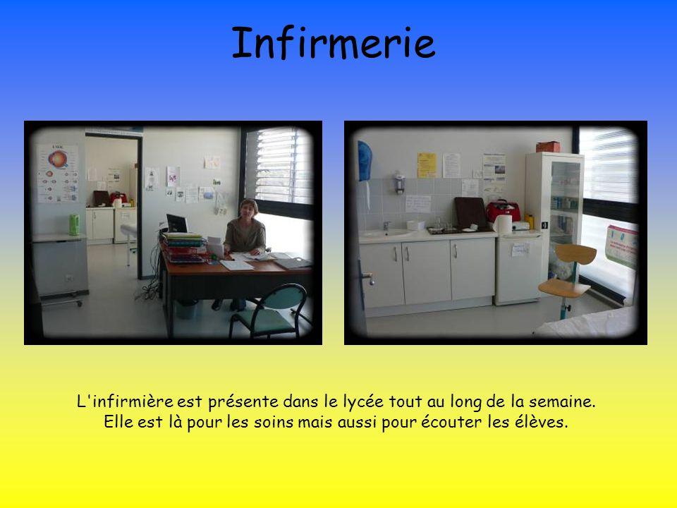 InfirmerieL infirmière est présente dans le lycée tout au long de la semaine.
