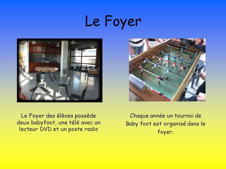 Le FoyerLe Foyer des élèves possède deux babyfoot, une télé avec un lecteur DVD et un poste radio. Chaque année un tournoi de.