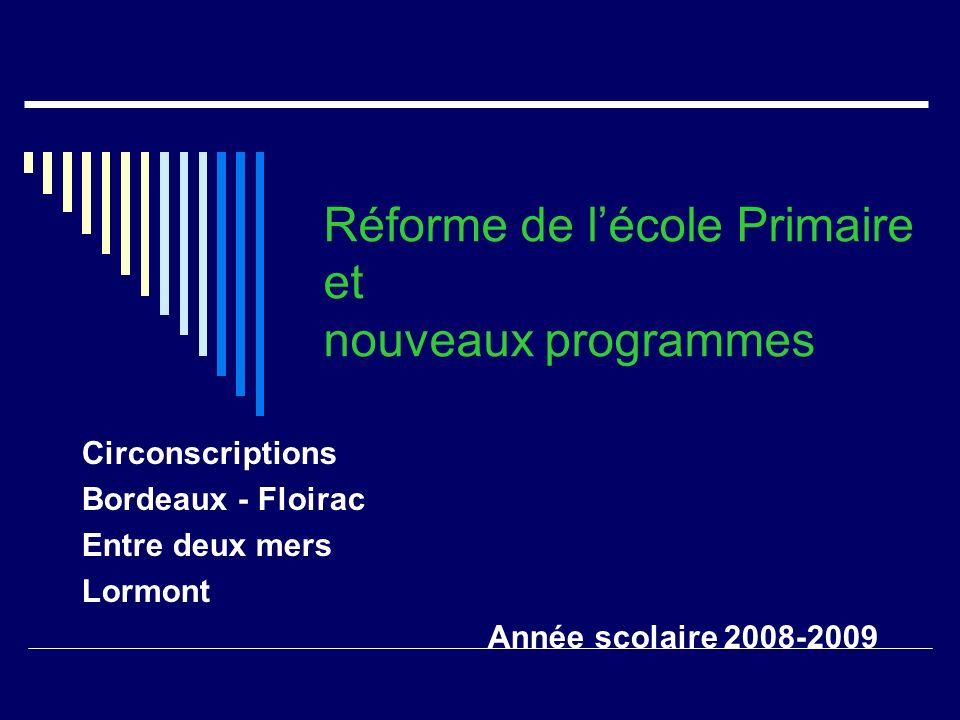 Réforme de l'école Primaire et nouveaux programmes