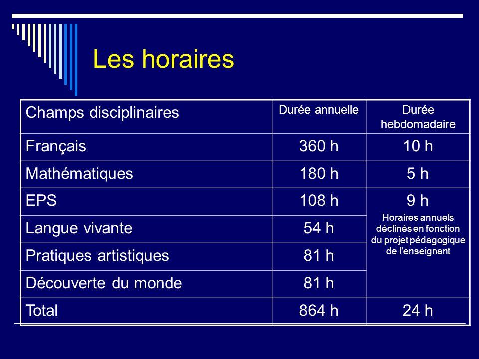 Les horaires Champs disciplinaires Français 360 h 10 h Mathématiques