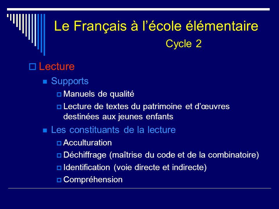 Le Français à l'école élémentaire Cycle 2