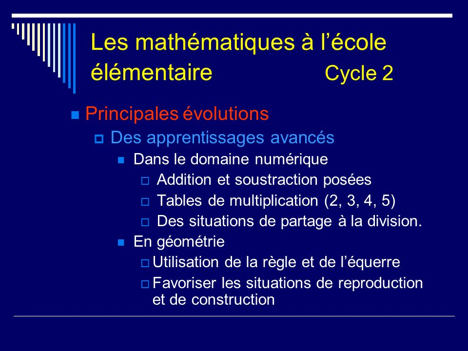 Les mathématiques à l'école élémentaire Cycle 2