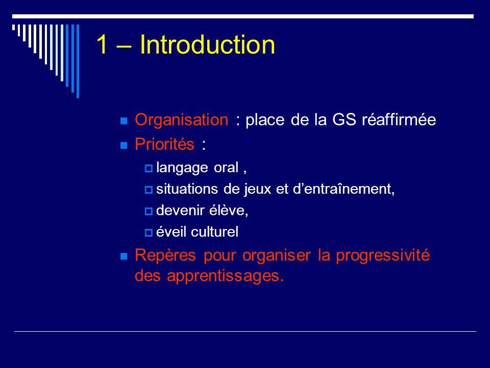 1 – Introduction Organisation : place de la GS réaffirmée Priorités :