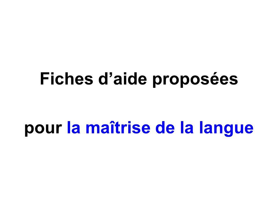 Fiches d'aide proposées pour la maîtrise de la langue