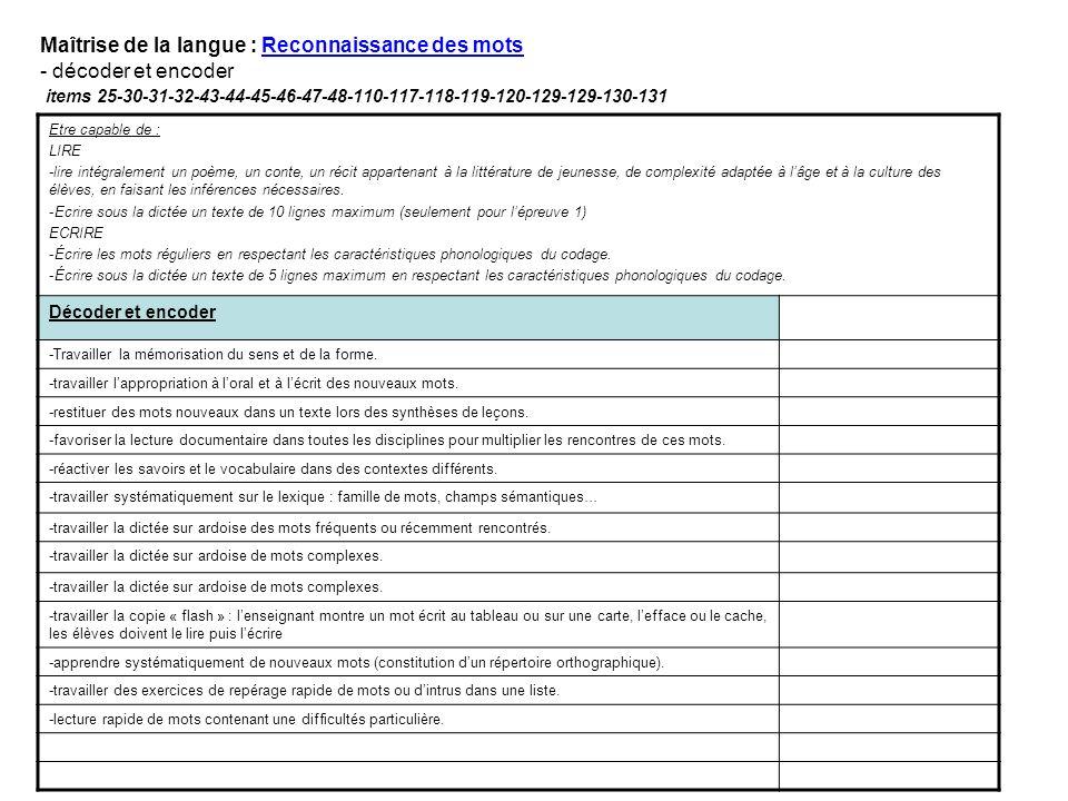 Maîtrise de la langue : Reconnaissance des mots - décoder et encoder items 25-30-31-32-43-44-45-46-47-48-110-117-118-119-120-129-129-130-131