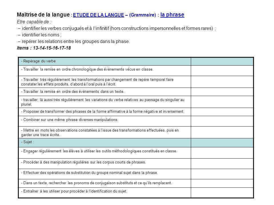 Maîtrise de la langue : ETUDE DE LA LANGUE – (Grammaire) : la phrase