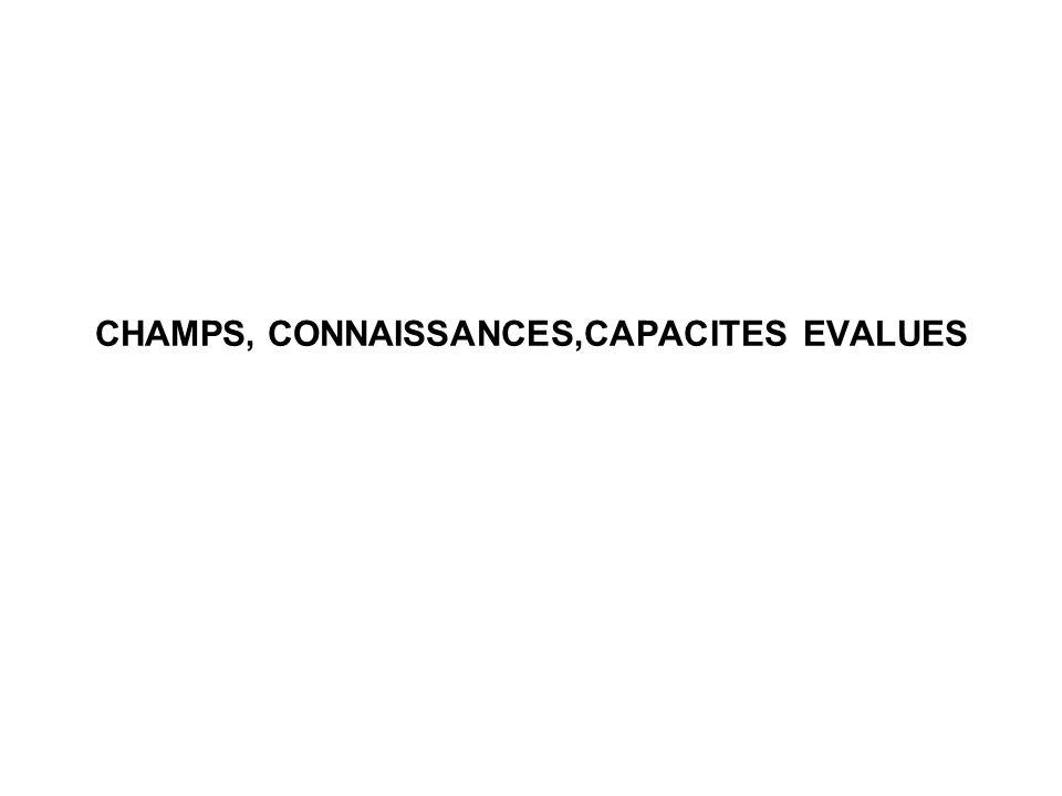 CHAMPS, CONNAISSANCES,CAPACITES EVALUES
