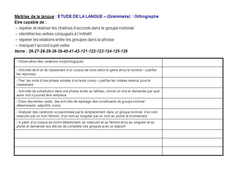Maîtrise de la langue : ETUDE DE LA LANGUE – (Grammaire) : Orthographe