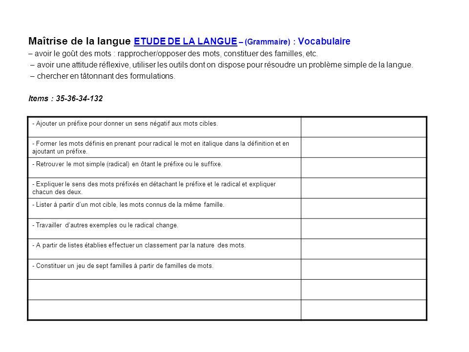 Maîtrise de la langue ETUDE DE LA LANGUE – (Grammaire) : Vocabulaire