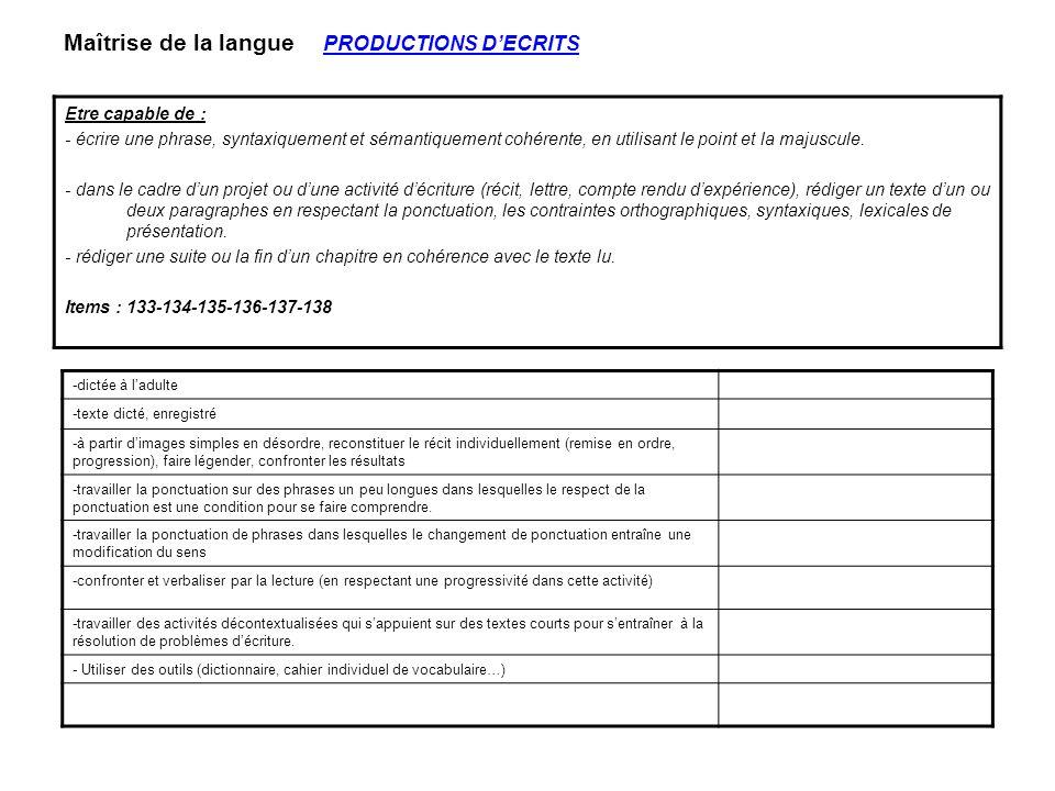 Maîtrise de la langue PRODUCTIONS D'ECRITS