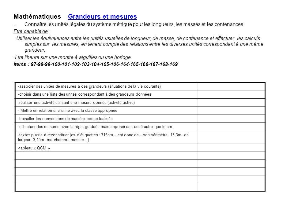 Mathématiques Grandeurs et mesures