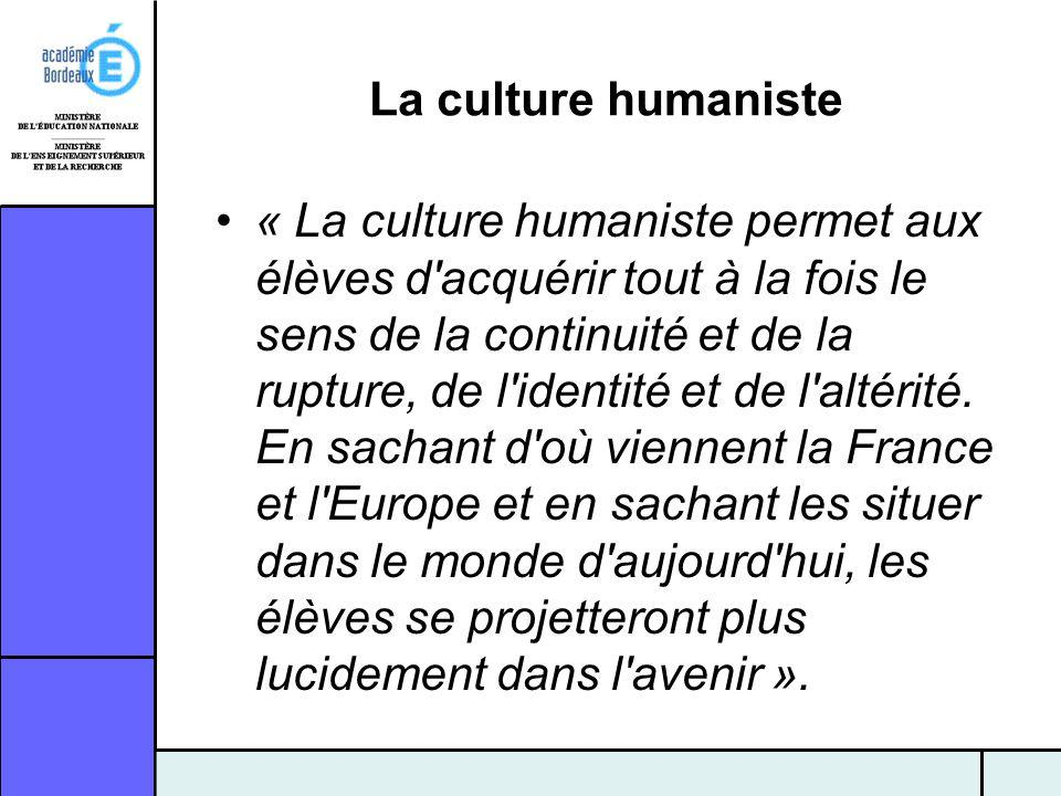 La culture humaniste