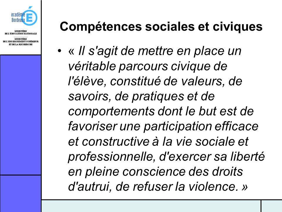 Compétences sociales et civiques