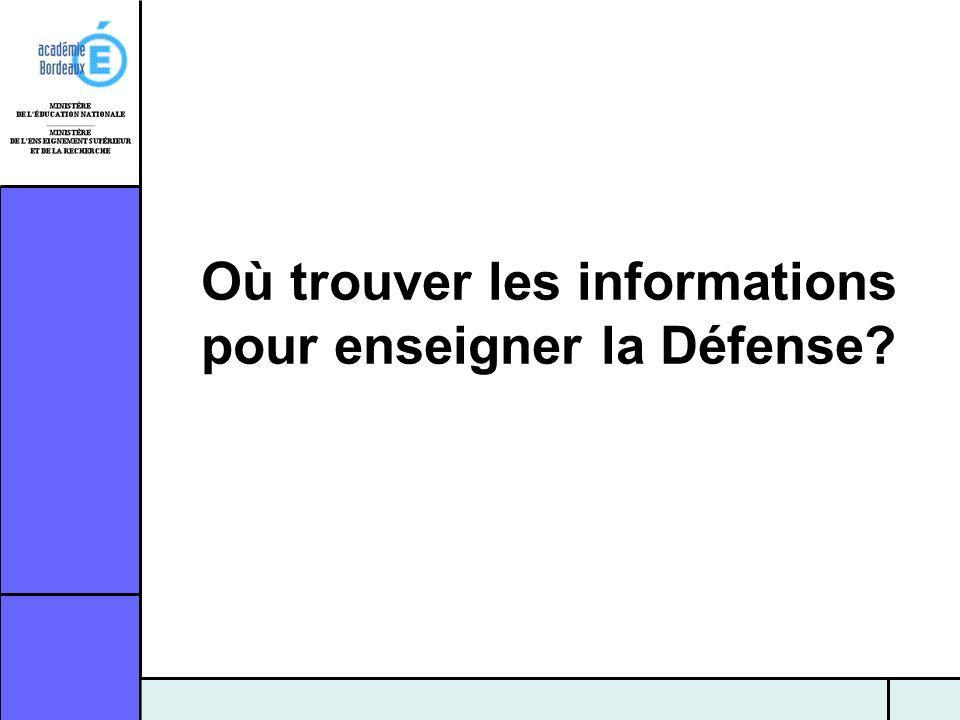 Où trouver les informations pour enseigner la Défense