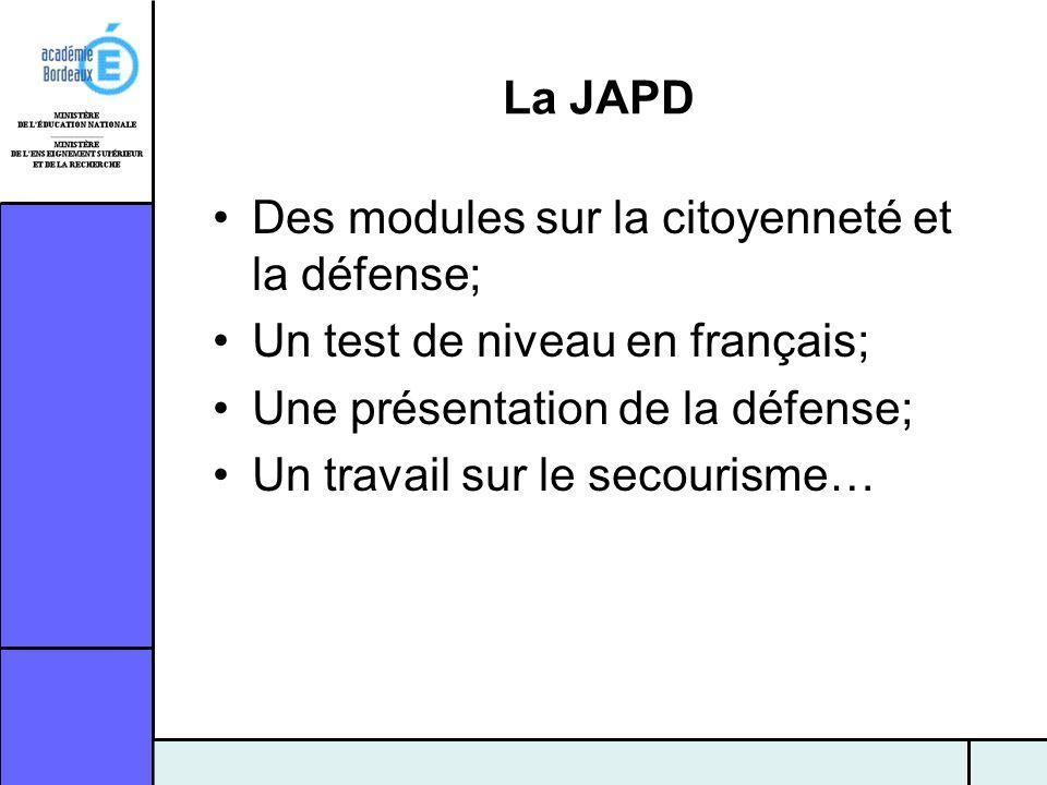 La JAPD Des modules sur la citoyenneté et la défense; Un test de niveau en français; Une présentation de la défense;