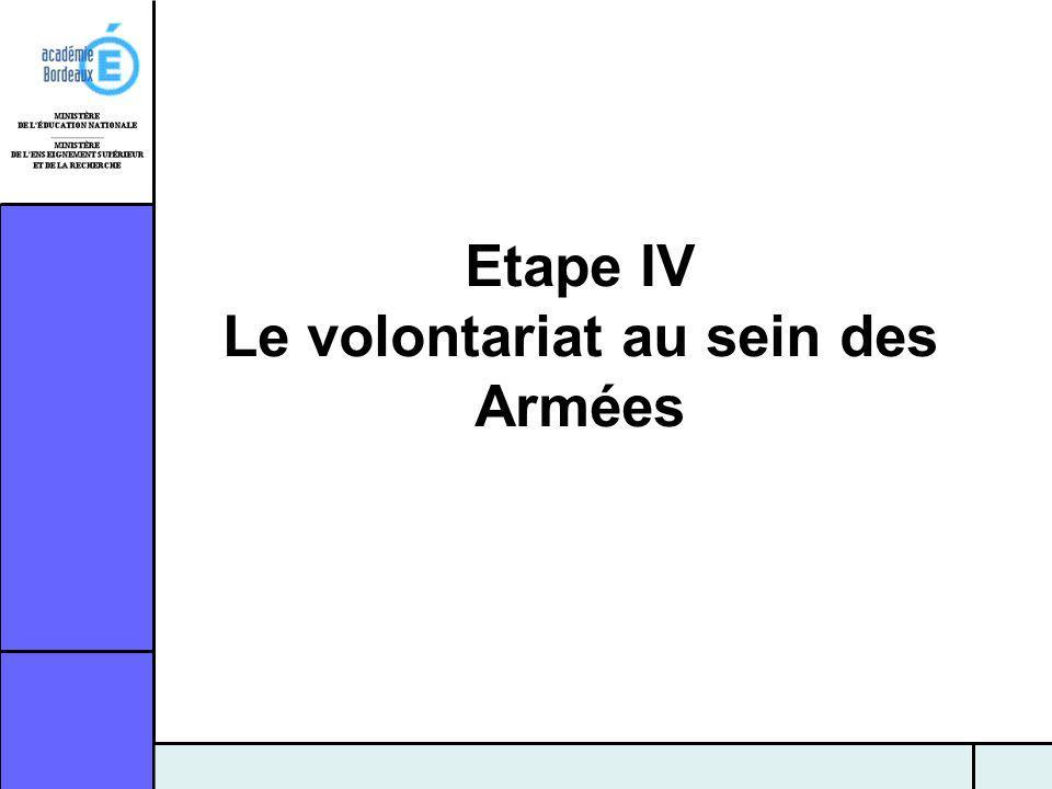 Etape IV Le volontariat au sein des Armées