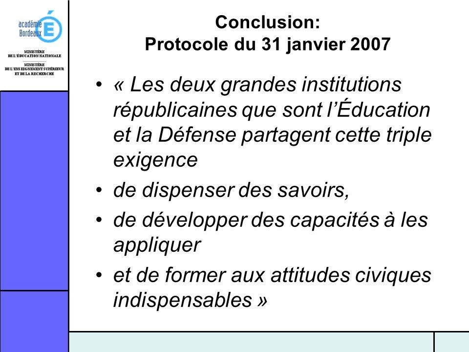 Conclusion: Protocole du 31 janvier 2007