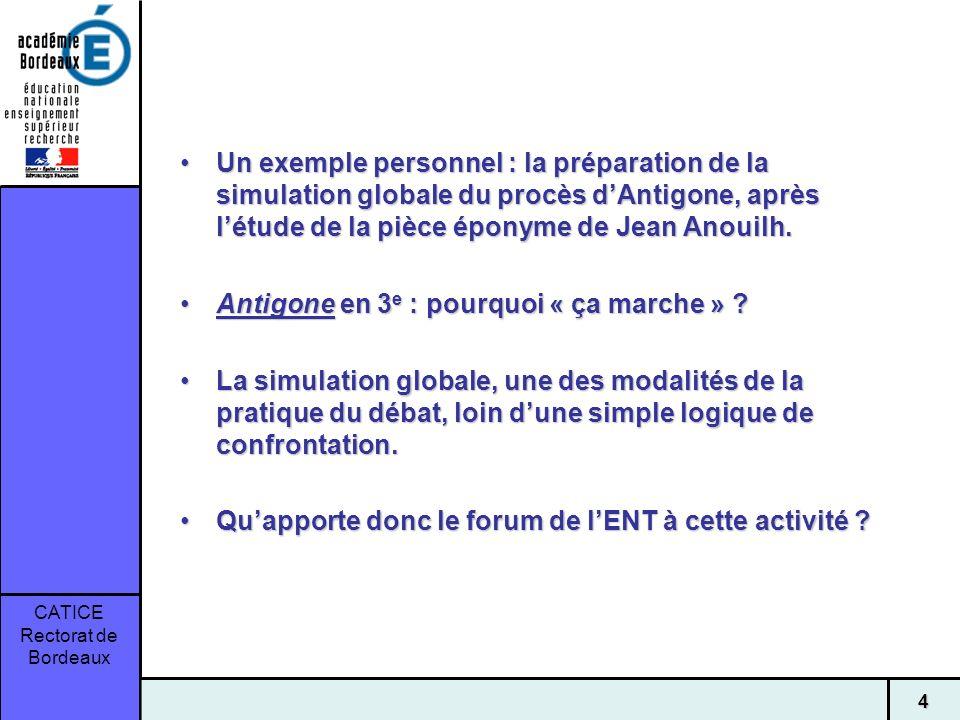 Un exemple personnel : la préparation de la simulation globale du procès d'Antigone, après l'étude de la pièce éponyme de Jean Anouilh.