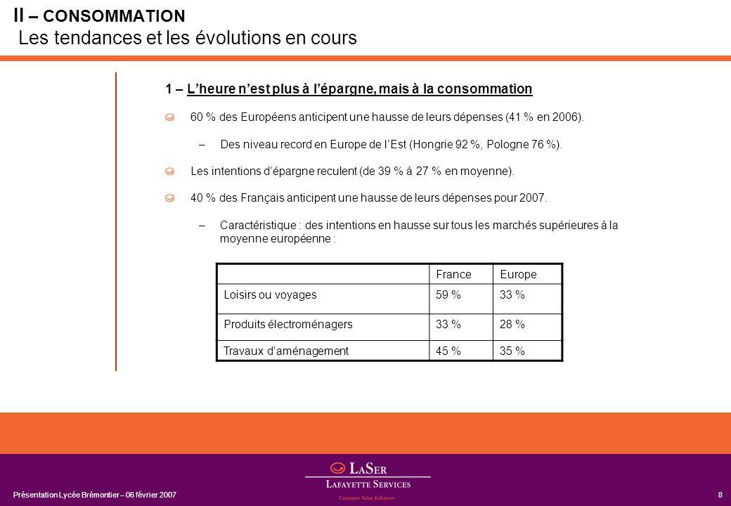 II – CONSOMMATION Les tendances et les évolutions en cours