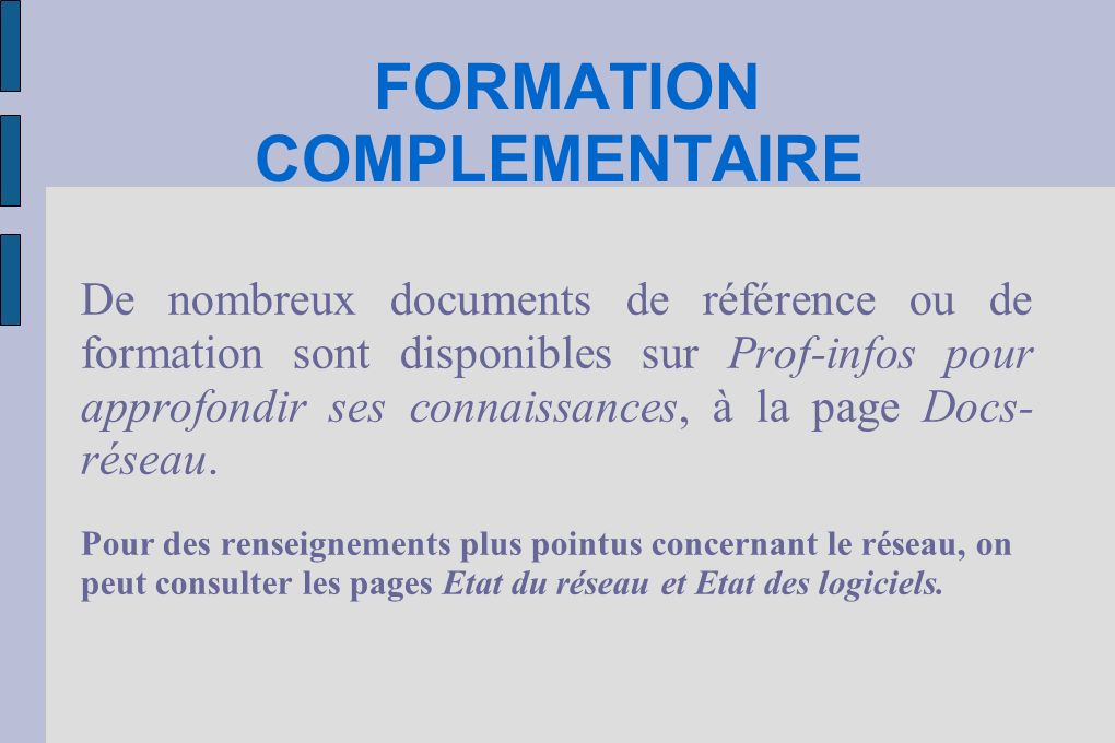 FORMATION COMPLEMENTAIRE