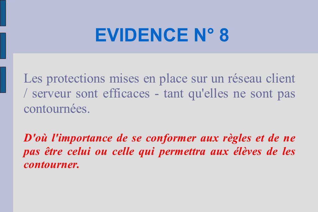 EVIDENCE N° 8 Les protections mises en place sur un réseau client / serveur sont efficaces - tant qu elles ne sont pas contournées.