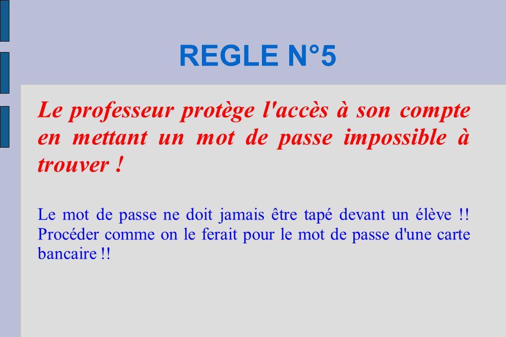REGLE N°5 Le professeur protège l accès à son compte en mettant un mot de passe impossible à trouver !