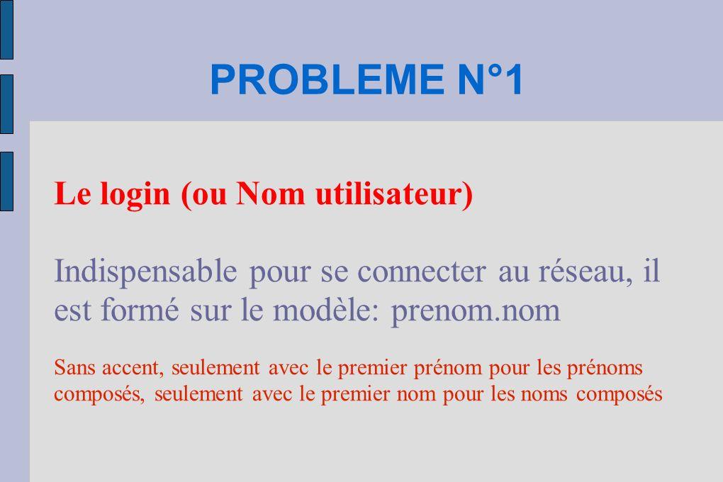 PROBLEME N°1 Le login (ou Nom utilisateur)