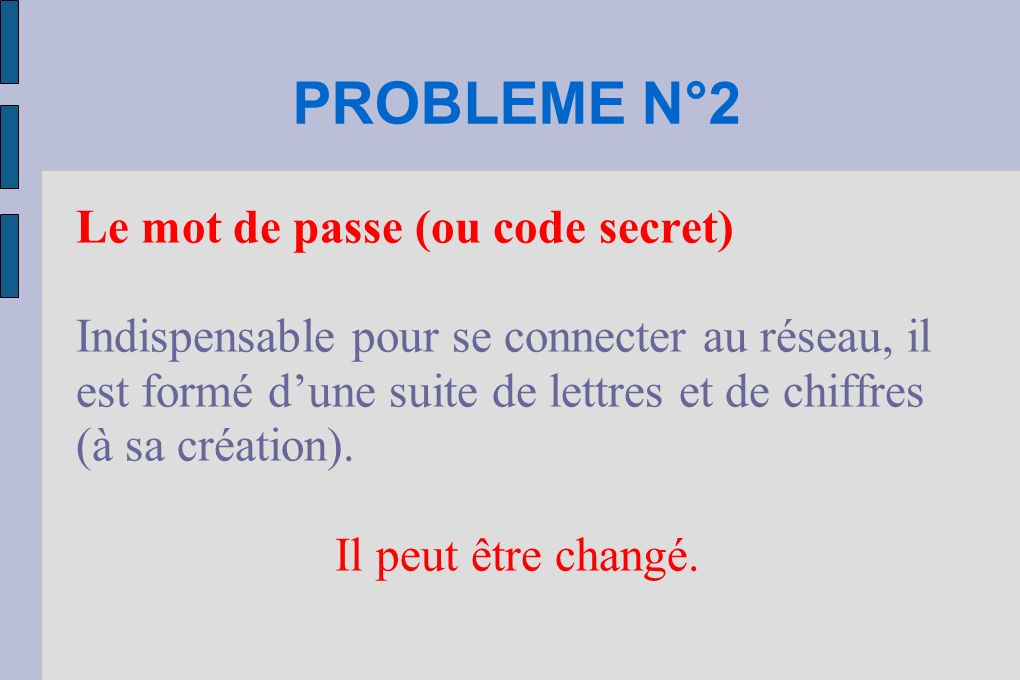 PROBLEME N°2 Le mot de passe (ou code secret)