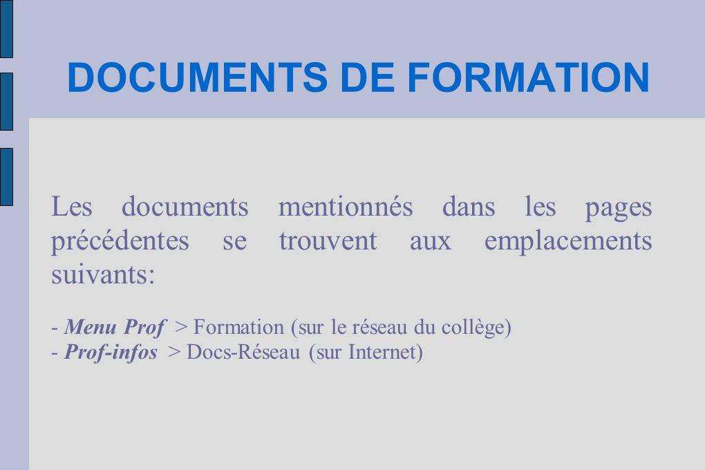 DOCUMENTS DE FORMATION
