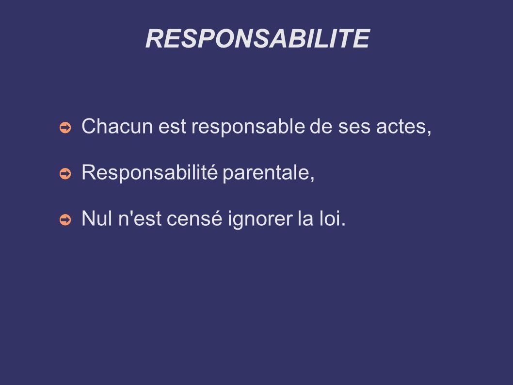 RESPONSABILITE Chacun est responsable de ses actes,