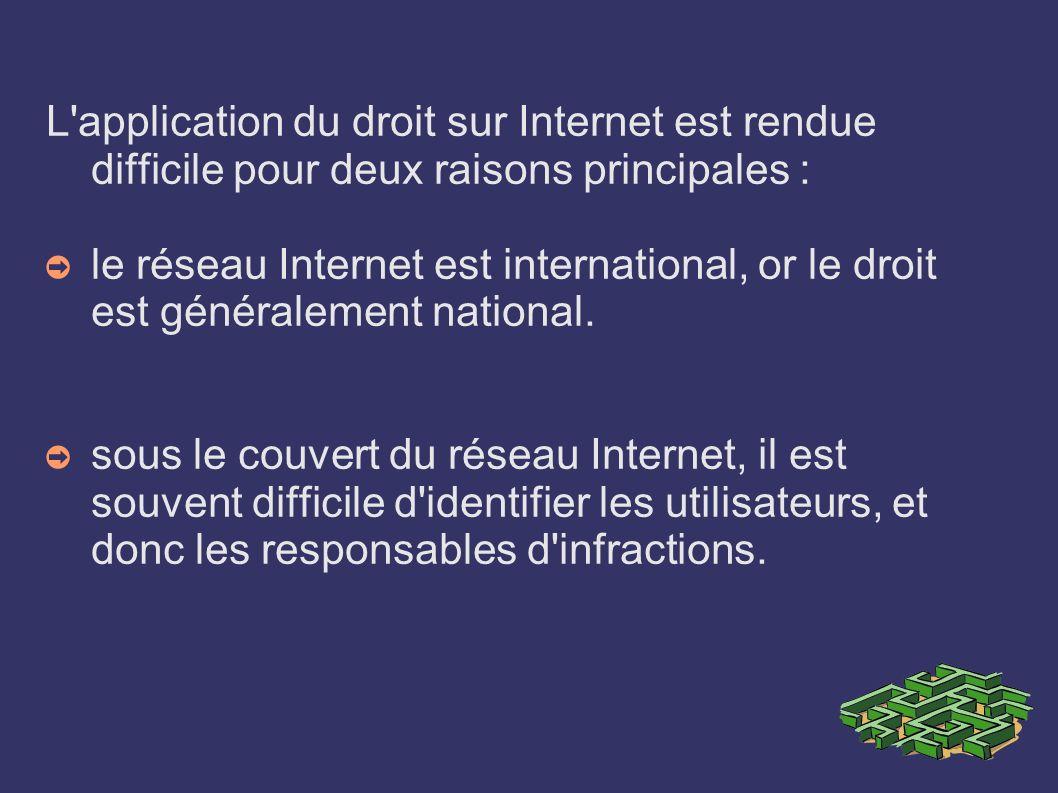L application du droit sur Internet est rendue difficile pour deux raisons principales :