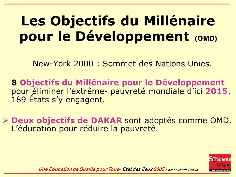 Les Objectifs du Millénaire pour le Développement (OMD)
