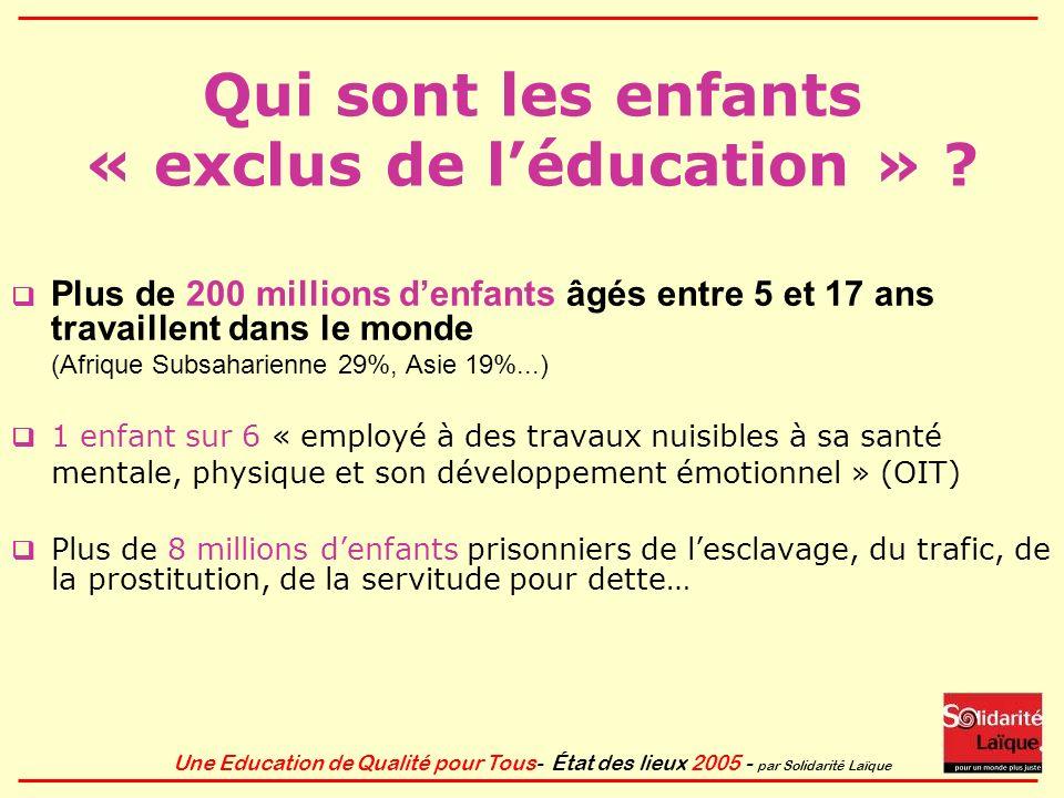 Qui sont les enfants « exclus de l'éducation »