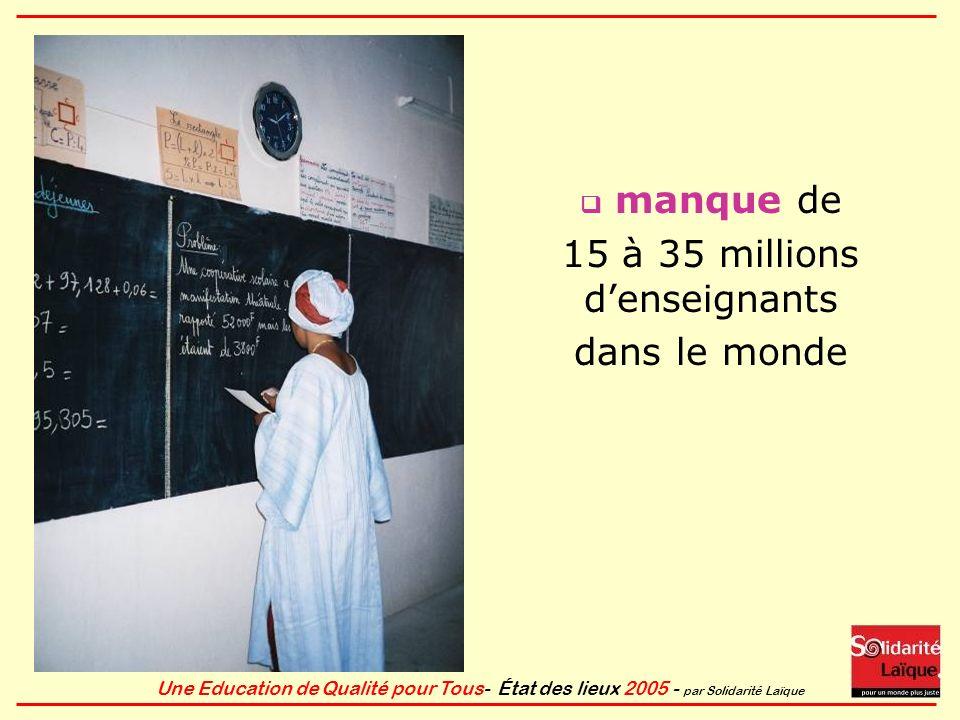 15 à 35 millions d'enseignants